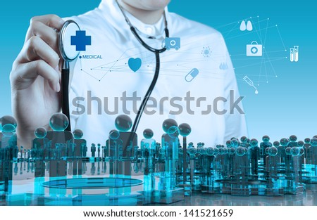 Doctor hand with a stethoscope and human sign social - stock photo