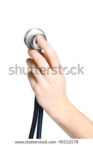 Doctor hand with stethoscope isolated on white - stock photo