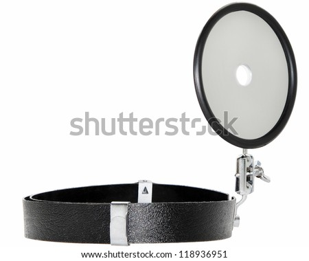 Doctor head mirror isolated on white background - stock photo