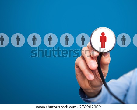 Doctor hiring personnel. Man hand with stethoscope. Business, hr, recruitment concept. Isolated on blue. stock Photo. - stock photo