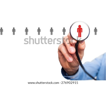 Doctor hiring personnel. Man hand with stethoscope. Business, hr, recruitment concept. Isolated on white. stock Photo. - stock photo