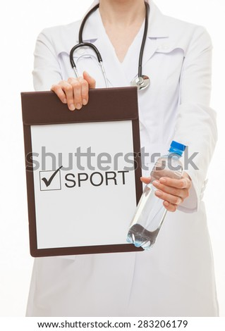 Doctor holding a clipboard and a bottle of water , white background