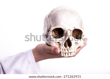 Doctor holding a skull in his hands. She shows the skull forward in a teaching situation or when she explains her patient what the patient study showed - stock photo