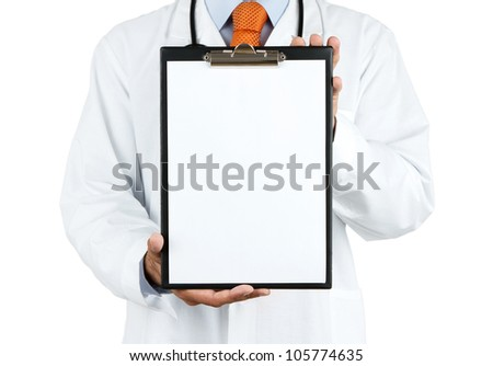 Doctor holding blank clipboard with copy space isolated on white background - stock photo