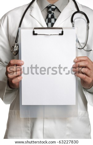 Doctor holding blank sign on a clipboard ready to add your message - stock photo