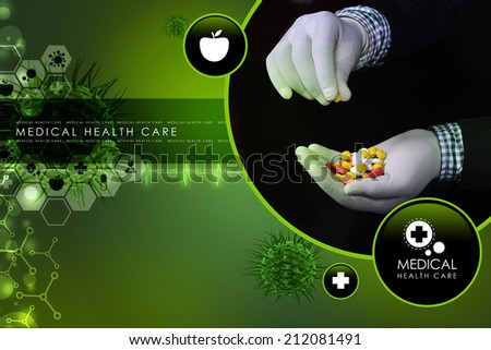 doctor holding in hands pills - stock photo
