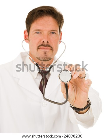 Doctor holding out his stethoscope.  Shallow depth of field with focus on hand holding the end of stethoscope. - stock photo
