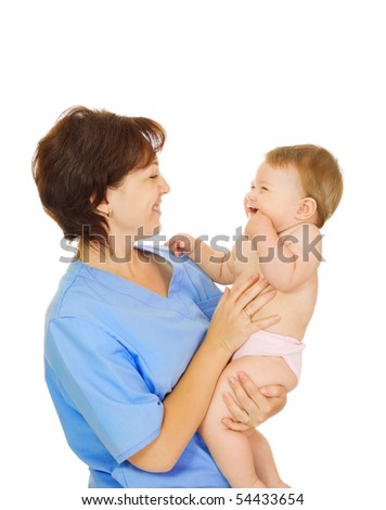 Doctor holding small smiling baby isolated on white #2 - stock photo