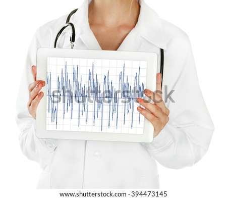 doctor holding tablet in hands close-up - stock photo