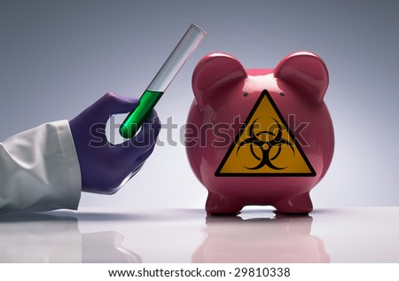 Doctor holding vaccine beside swine flu pig - stock photo