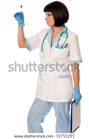doctor holds a tube with sample of new antidote - stock photo