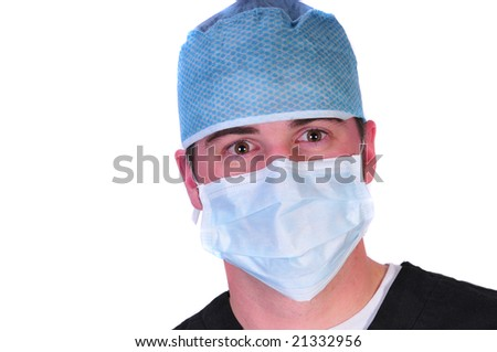 doctor in a hat and mask - stock photo