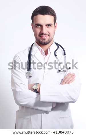 Doctor in a white coat - stock photo