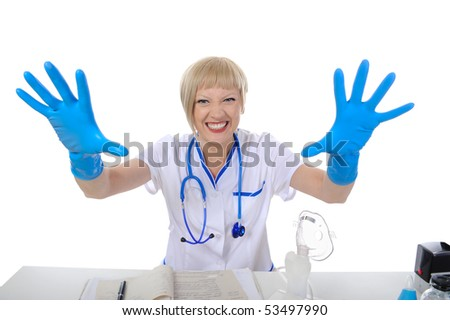 Doctor in blue gloves. Isolated on white background - stock photo