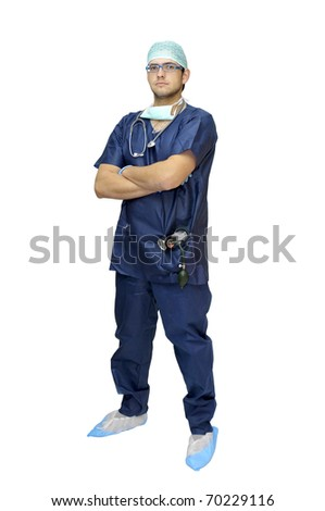 Doctor in uniform posing isolated in white - stock photo