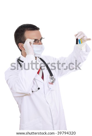 Doctor -intern resarch a medical test glass. Isolated.