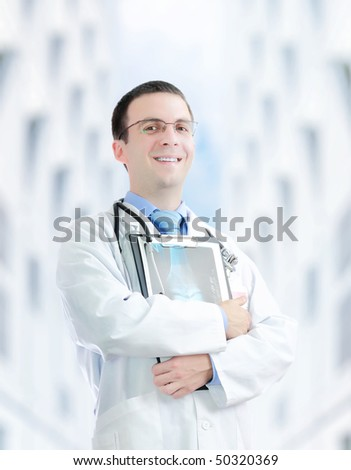 Doctor (intern) stand in  the Hospital area with x-ray image. - stock photo