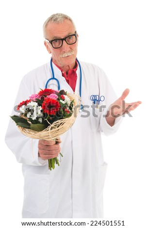 doctor is giving flowers to say I am wrong isolated over white background - stock photo
