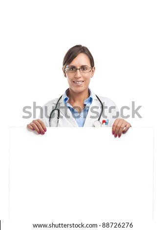 Doctor is holding a blank cardboard sign for your own text - stock photo