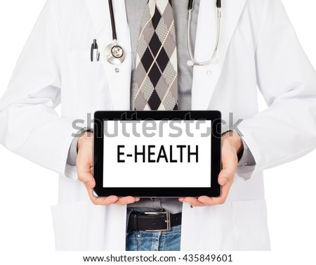 Doctor, isolated on white backgroun,  holding digital tablet - E-Health - stock photo