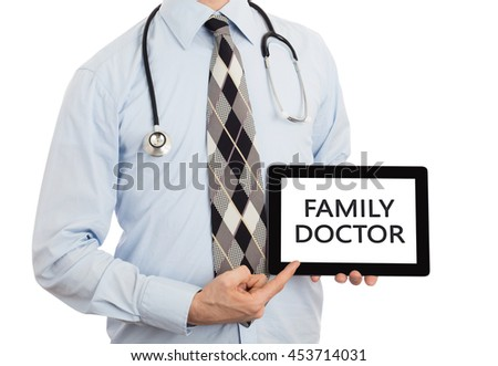 Doctor, isolated on white backgroun,  holding digital tablet - Family doctor - stock photo
