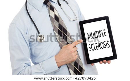 Doctor, isolated on white backgroun,  holding digital tablet - Multiple sclerosis - stock photo