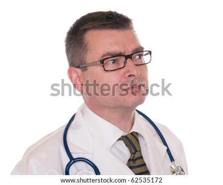 Doctor isolated on white. Close up. Looking away to right. - stock photo