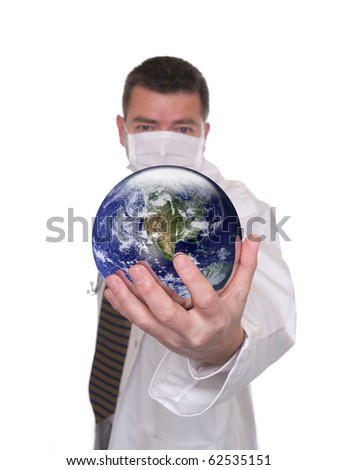 Doctor isolated on white. Holds globe featuring USA. Globe public domain courtesy http://visibleearth.nasa.gov/  Concept for world medicine or scope of possibilities in medical career. - stock photo
