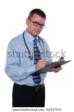 Doctor isolated on white. Looks frankly at camera. Writes notes on clipboard. - stock photo