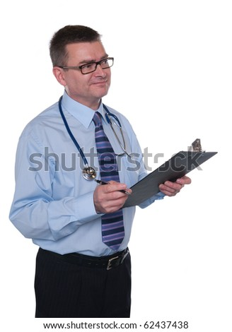 Doctor isolated on white. Smiles to right. Writing notes on clipboard. - stock photo