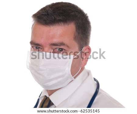 Doctor isolated on white wears mask and looks at camera. - stock photo