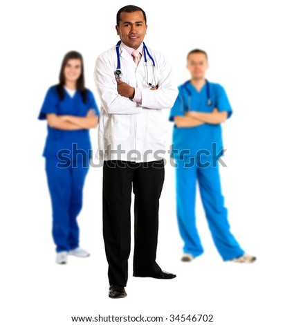doctor leading a group isolated over white background