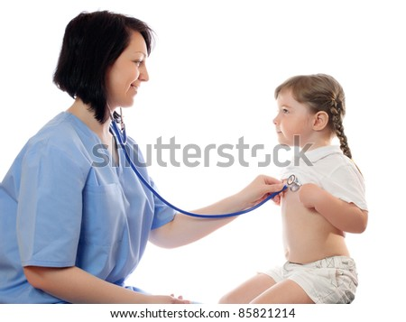 doctor listens by stethoscope little girl