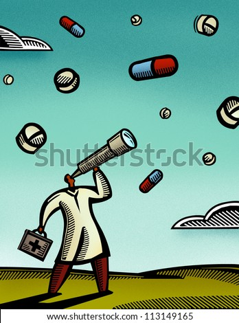 Doctor looking through a telescope at pills falling from the sky - stock photo