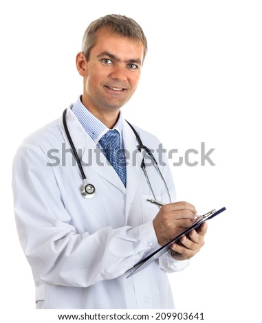 Doctor man checks medical chart of the patient. Isolated on white background - stock photo