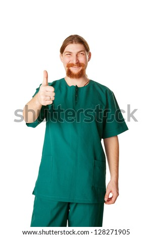 Doctor man showing a thumbs up or OK symbol. Isolated on white background