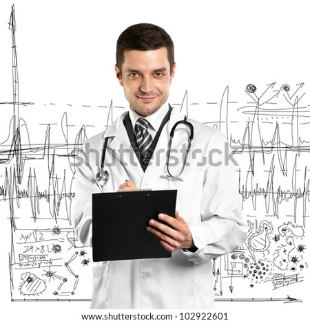 Doctor man with stethoscope and clipboard against different backgrounds