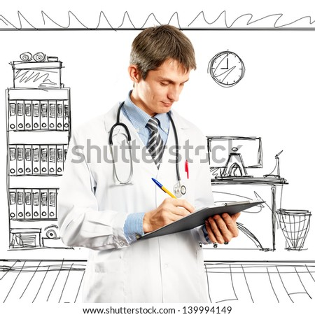 Doctor man with stethoscope and clipboard in his hands - stock photo