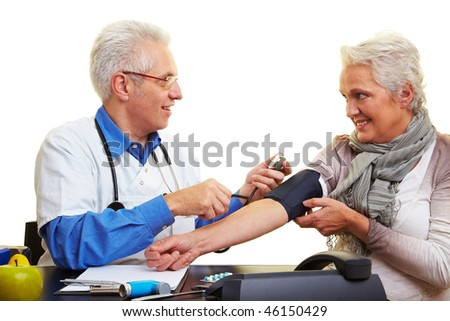 Doctor measuring blood pressure at his patient