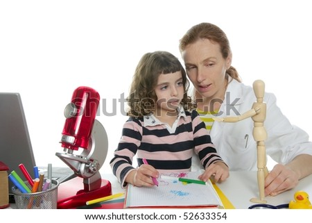 doctor natural sciences teaching pupil at school