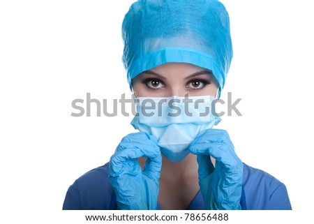 Doctor / nurse attractive beautiful eyes in surgeon mask. Closeup portrait of confident young caucasian cute woman model in blue medical scrub. Isolated over white background. with copy space.