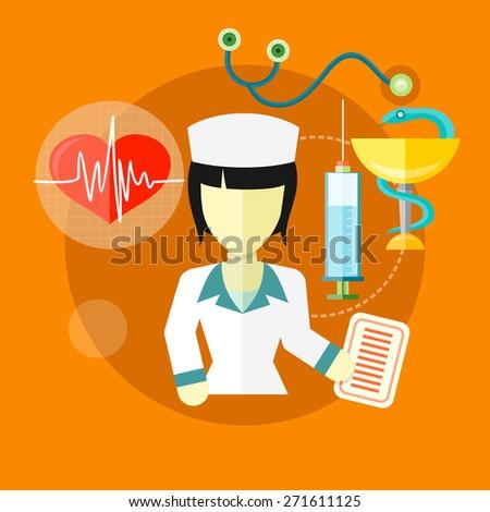 Doctor, nurse, hospital doctor, nurse jobs. Concept icons set in flat design. Raster version - stock photo
