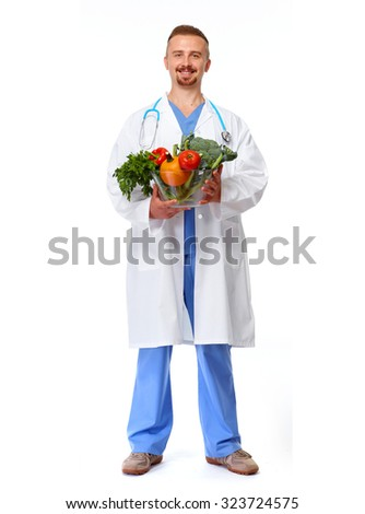 Doctor nutritionist with vegetables isolated white background. - stock photo