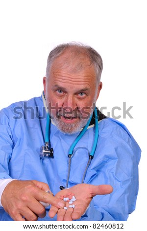 Doctor offering pain relief with two types of medicine and explains each to patient, isolated on white