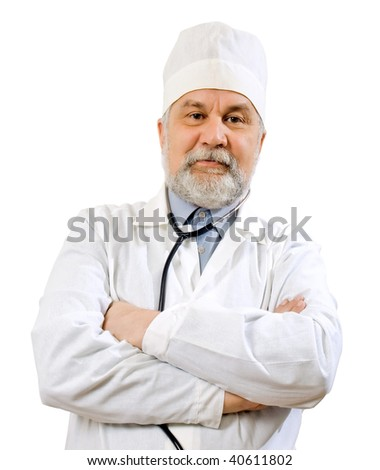 Doctor on white background (isolated). - stock photo