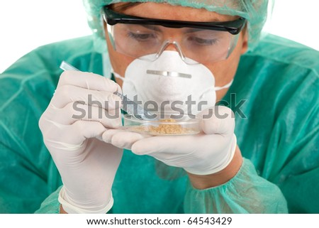 doctor or chemist in laboratory; isolated over a white background - stock photo