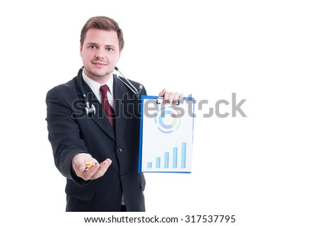 Doctor or medicine salesman offering pills and showing charts isolated on white - stock photo