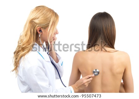 Doctor or nurse auscultating patient with stethoscope physical therapy closeup composition on a white background - stock photo