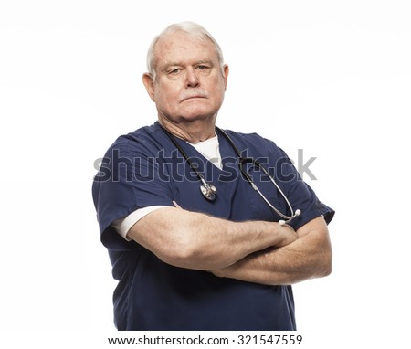 Doctor or nurse looking serious with arms crossed. - stock photo
