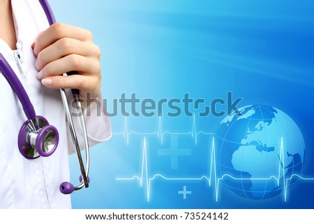 Doctor or nurse  with medical blue background - stock photo